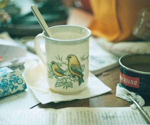 bird, cup, and vintage image