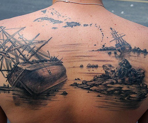 tattoo, ship, and back image
