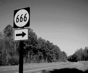 666, black and white, and Black Metal image