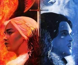 game of thrones, jon snow, and dragon image