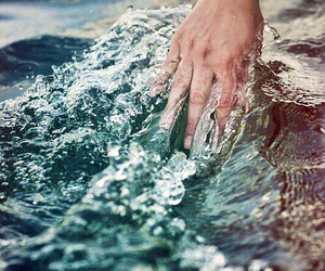water, hand, and sea image