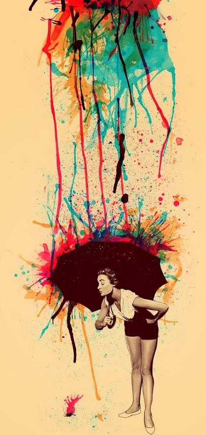art, umbrella, and rain image