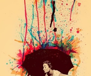 art, umbrella, and rain image
