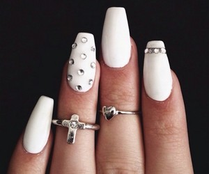 white nails, heart ring, and cross ring image