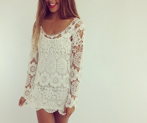 dress, white, and girly image