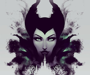 black, white, and maleficent image