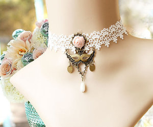 victorian necklace, lace necklace, and summer trend image