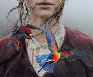 birds, drawings, and girl image