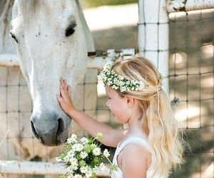 horse, flowers, and blonde image