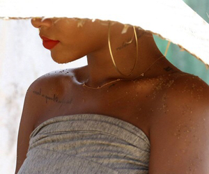 earrings, hat, and lips image