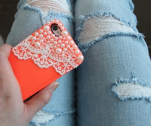 jeans, iphone, and orange image