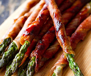food, bacon, and asparagus image