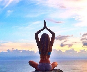 girl, yoga, and summer image