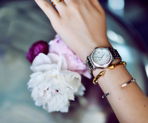 watch, jewelry, and flowers image