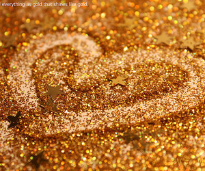 heart, glitter, and golden image