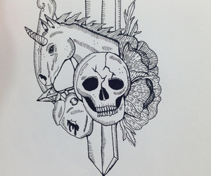 broken, drawing, and flower image