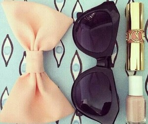 bow, lipstick, and sunglasses image
