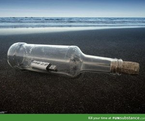 bottle, message, and usb image