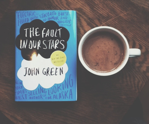 book, the fault in our stars, and coffee image