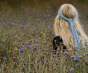 blond, blue, and flowers image