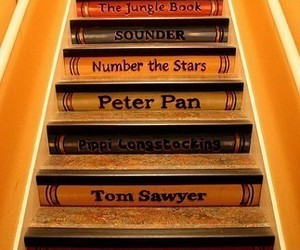 book, stairs, and peter pan image