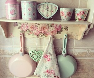 kitchen, vintage, and pink image