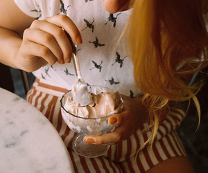 ice cream, girl, and vintage image