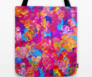 abstract art, neon colors, and canvas bag image