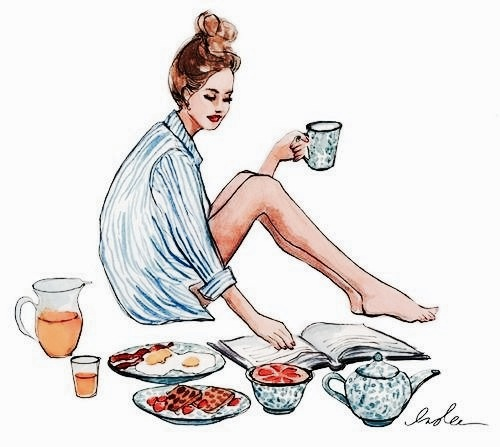 girl, breakfast, and drawing image