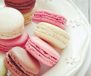food, pink, and macaroons image