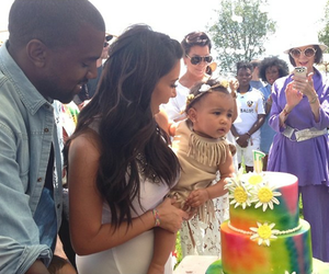 north west, kim kardashian, and kanye west image