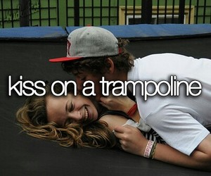 kiss, trampoline, and couple image