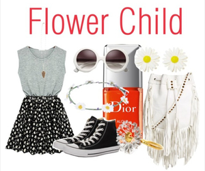flower, outfit, and Polyvore image
