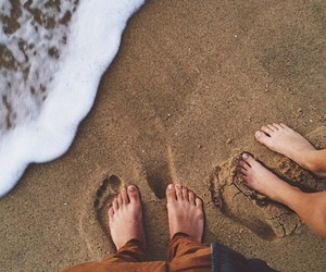 beach, couple, and foot image