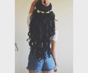 hair, flowers, and long hair image