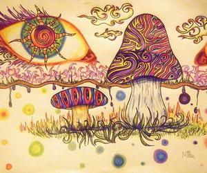 trippy, eye, and mushroom image