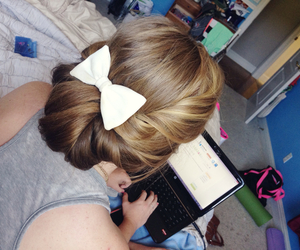 blonde, bow, and computer image