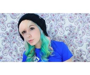 dyed hair, green hair, and cute image