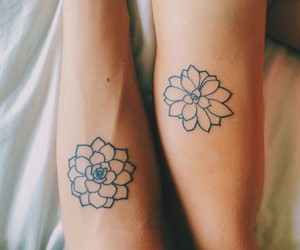 tattoo, flowers, and couple image