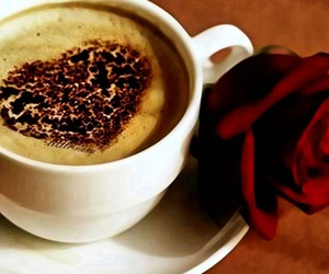 coffee, heart, and rose image