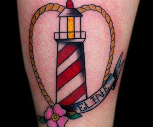 lighthouse, oldschool, and tattoo image