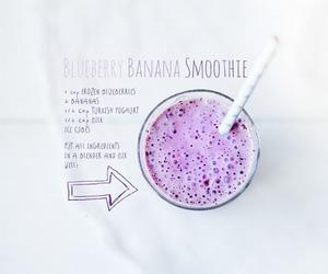 smoothie, banana, and blueberry image
