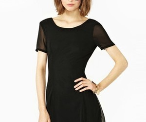 yoyomelody, black chiffon, and deep v back short dress image