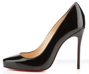 black, elegant, and red sole shoes image
