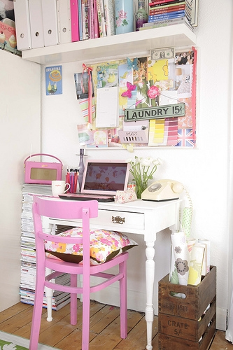 decor, desk, and office image