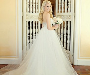 ball gown, beaded, and bouquet image