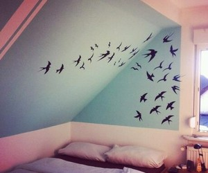 bed, stickers, and birds image