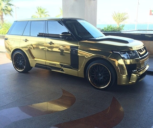 car, gold, and range rover image
