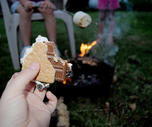 camp, camping, and marshmallow image