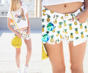 pineapple, shorts, and summer image